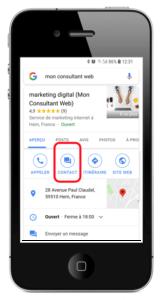 chat dans la fiche mobile sur google maps
