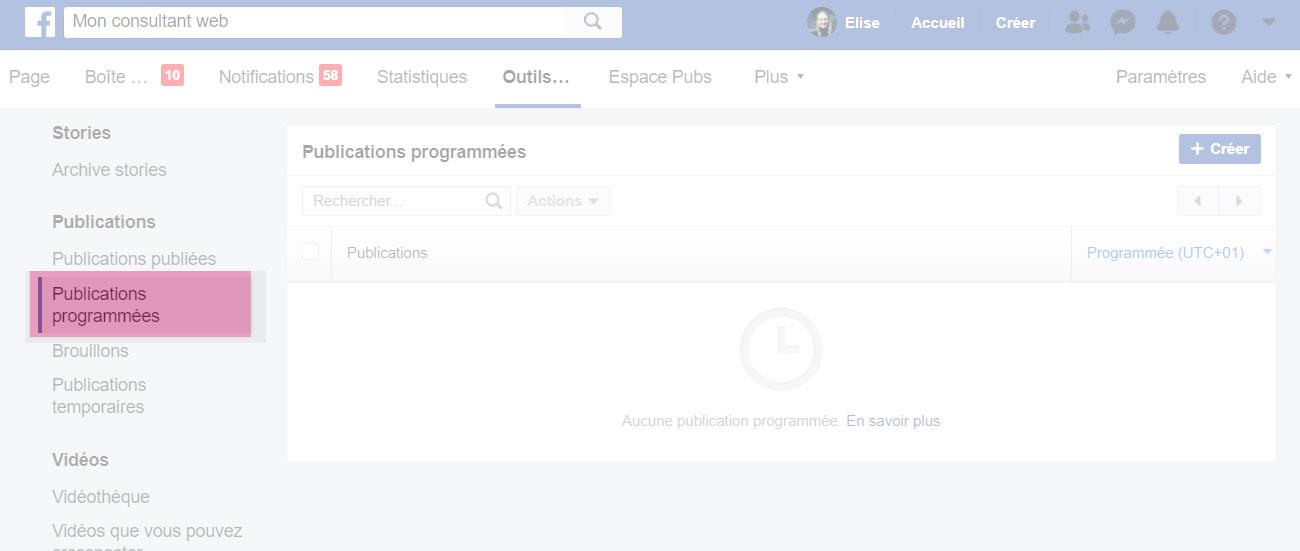 Aller dans l'interface de programmation des posts