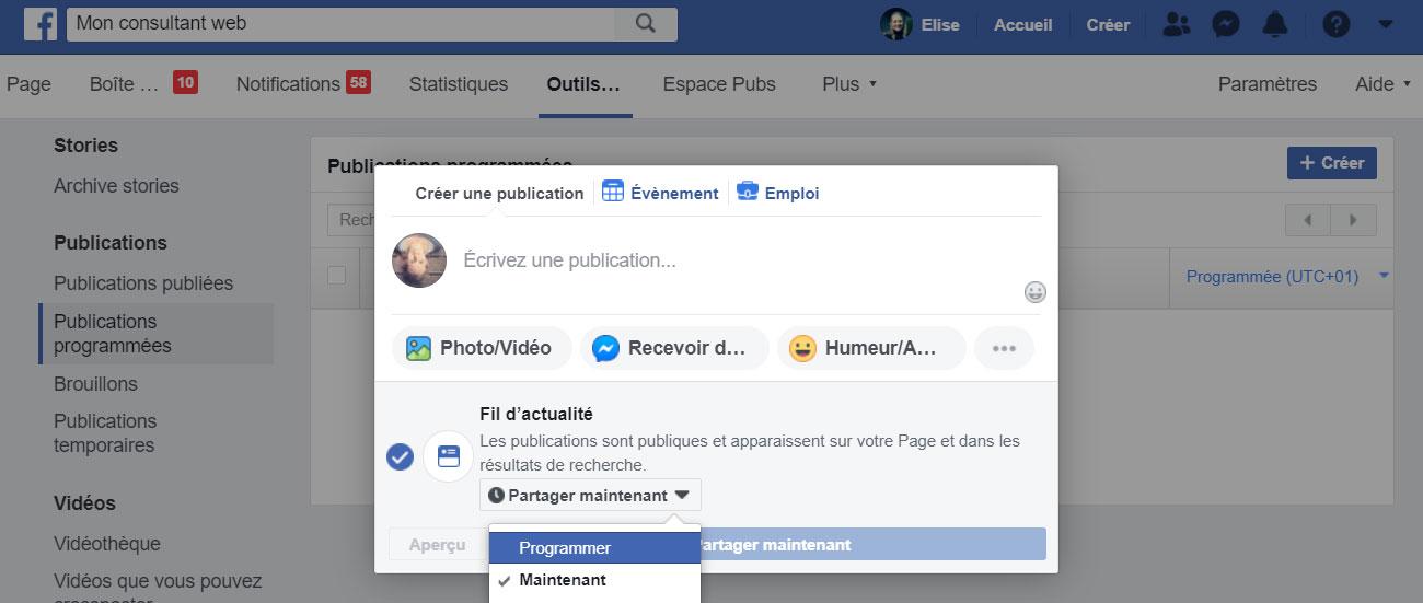 Vous pouvez ainsi programmer vos posts facebook de nouveau !